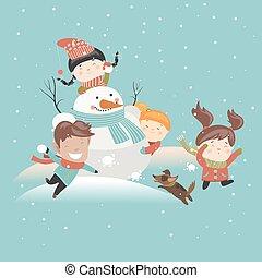 rigolote, boule de neige, gosses, jouer, baston