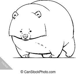 rigolote, brun, grisonnant, illustration, vecteur, ours, dessin animé