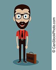 rigolote, bureau, caractère, homme affaires, type, vendeur, dessin animé