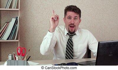 rigolote, bureau fonctionnant, deux âges, haut, idea., directeur, homme, came