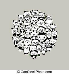 rigolote, cadre, famille, panda, conception, ton