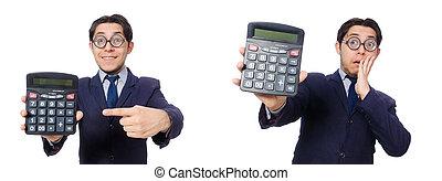 rigolote, calculatrice, blanc, isolé, homme