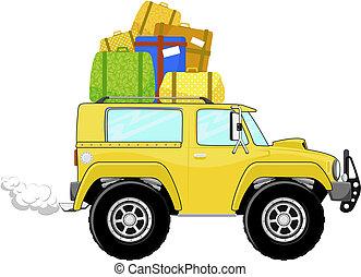 rigolote, camion, dessin animé, bagage