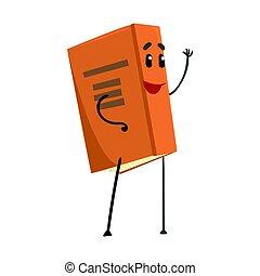 rigolote, caractère, illustration, dessin animé, vecteur, sourire, humanized, livre