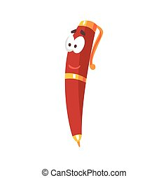 rigolote, caractère, illustration, figure, stylo, vecteur, frienfly, comique, humanized, dessin animé, rouges
