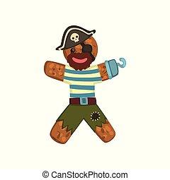 rigolote, caractère, illustration, figure, vecteur, déguisement, fond, pain épice, blanc, homme, pirate, noël