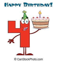 rigolote, caractère, nombre, haut, quatre, anniversaire, tenue, gâteau, dessin animé, rouges, mascotte
