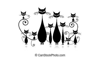 rigolote, chatons, chats, noir, silhouette, famille
