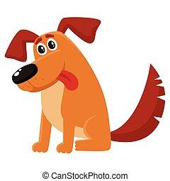 rigolote, chien, séance, caractère, langue, chiot, dehors