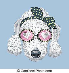 rigolote, chien, vecteur, hipster, terrier, dessin animé, bedlington
