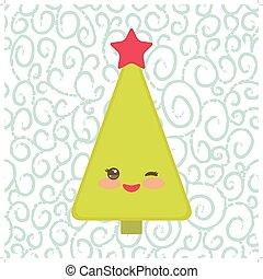 rigolote, cligner, card., arbre, nouveau, vecteur, vert, année, étoile, sourire heureux, noël, rouges, eye.