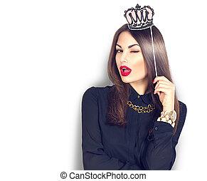 rigolote, cligner, couronne, papier, crosse, tenue, sexy, modèle, girl