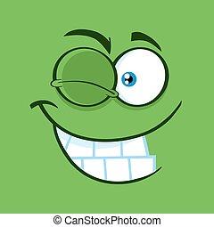 rigolote, cligner, figure, sourire, expression, dessin animé