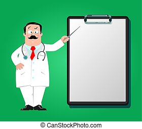 rigolote, clipboard., conception, gabarit, docteur