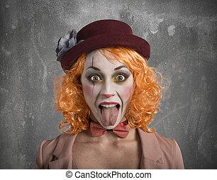 rigolote, clown, dehors, grimace, girl, langue