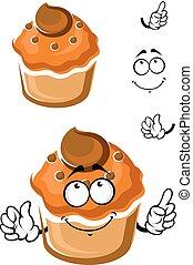 rigolote, coiffe, frais, dessin animé, muffin