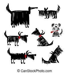 rigolote, collection, ton, conception, noir, chiens