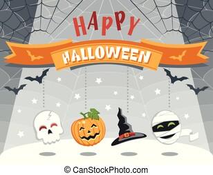 rigolote, coloré, halloween., salutation, characters., dessin animé, carte, heureux