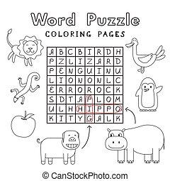 rigolote, coloration, animaux, puzzle, livre, mot
