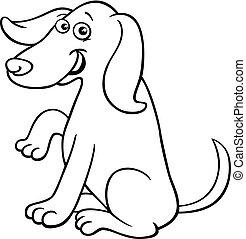 rigolote, coloration, caractère, chien, livre, dessin animé