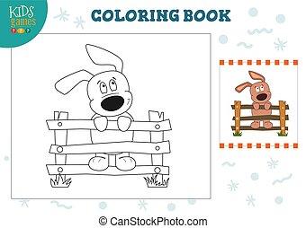 rigolote, coloration, chien, illustration, vecteur, page