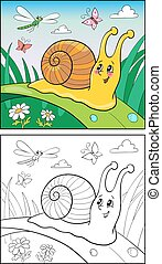 rigolote, coloration, escargot, illustration, page, children., dessin animé