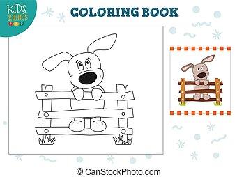 rigolote, coloration, illustration, vecteur, chiot, livre
