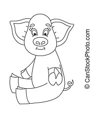 rigolote, coloration, mignon, cochon, illustration, vecteur, porcin, livre