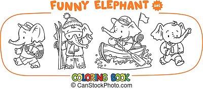 rigolote, coloration, quatre, ensemble, éléphant, bébé, livre