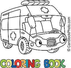 rigolote, coloration, voiture, livre, ambulance, petit, eyes...