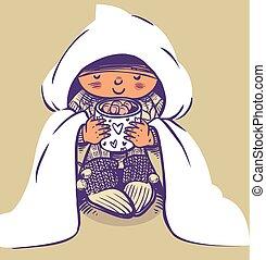 rigolote, colorfull, cacao, vecteur, enfant, dessin animé,...