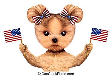 rigolote, concept, usa, chien, 4ème, tenue, juillet, flags.