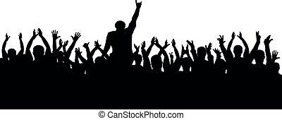 rigolote, concert, applaudissements, foule, gens., cheering., silhouette, isolé, gai, vecteur, partie.