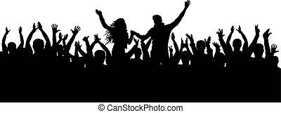 rigolote, concert, applaudissements, foule, gens., silhouette, applaudissement, isolé, gai, vecteur, partie.