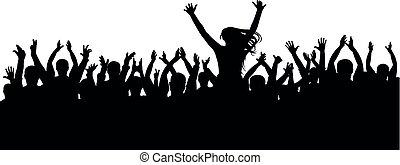 rigolote, concert, silhouette, applaudissements, foule, isolé, gens., fond, épaules, applaudissement, silhouette, gai, vector., partie., girl, homme
