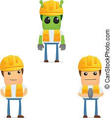rigolote, constructeur, ensemble, dessin animé