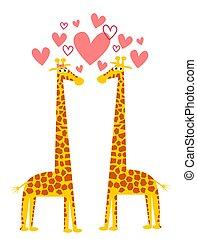 rigolote, couple, amour, illustration, girafes