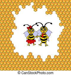 rigolote, couple, entouré, deux, abeilles, rayons miel, dessin animé