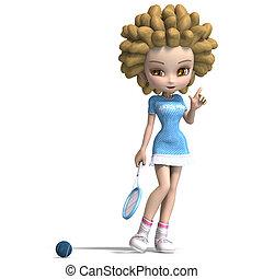 rigolote, coupure, jeux, girl, bouclé, sur, tennis., dessin ...