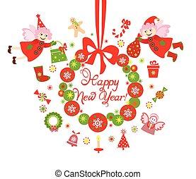 rigolote, couronne, elfe, nouvelle année