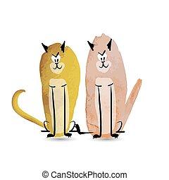 rigolote, croquis, cats., aquarelle, conception, ton
