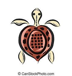 Tortue tatouage tribal fleur hibiscus illustration - Tortue rigolote ...