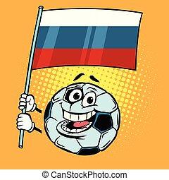 rigolote, cup., pays, football, 2018, flag., mondiale, football, russie, ball.