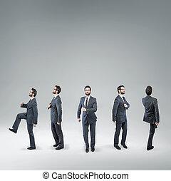 rigolote, danse, homme affaires, image