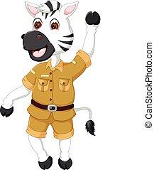 rigolote, danse, onduler, zebra, sourire, dessin animé
