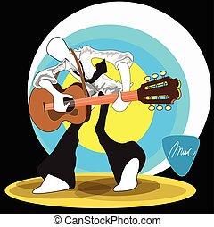 rigolote, danse, très, guitare, espiègle, rocher, homme