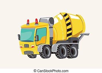 rigolote, dessiné, mignon, brûler, vehicles., main, béton, clair, vecteur, illustration, moteur, mélangeur, dessin animé