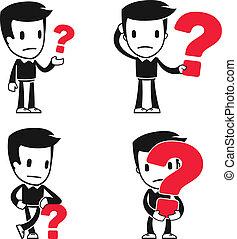 rigolote, dessin animé, assistant, homme