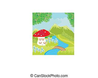 rigolote, dessin animé, champignon, maison