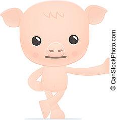 rigolote, dessin animé, cochon